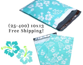 """FREE SHIPPING! (25-400 Pack) 10x13"""" Blue Hawaiian Designer Poly Mailers"""
