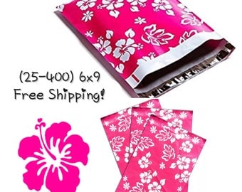 """FREE SHIPPING! (25-400 Pack) 6x9"""" Pink Hawaiian Designer Poly Mailers"""