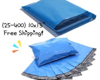 """FREE SHIPPING! (25-400 Pack) 10x13"""" Blue Poly Mailers"""