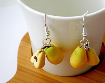 Earrings with pears made of polymer clay, fruit earrings handmade, earrings with pears as a gift to my mother / girlfriend