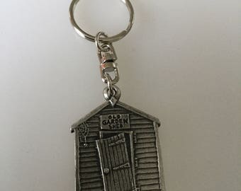 Old Garden Shed Pewter Keyring Handmade In UK