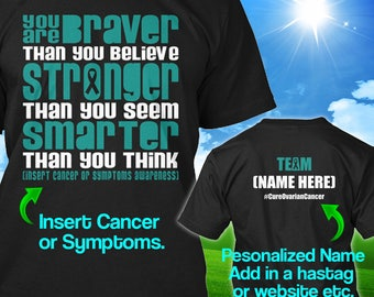 Personalized Ovarian Cancer Awareness Tshirt Teal Ribbon Braver Support Survivor Custom T-shirt Unisex Women Men Youth Kids Tee Gift Cloth