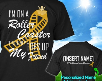Personalized Childhood Cancer Awareness Tshirt Gold Ribbon Roller Coaster Support Survivor Custom T-shirt Apparel Unisex Women Youth Kid Tee