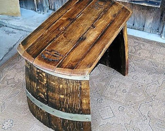 Featured listing image: Wine Barrel Footstool-Wood footstool-Garden Stool-Stave Footstool