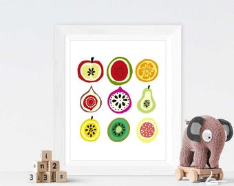 Colorfull Fruit Cuts, Watermelon, Apple, Colourfull Fruits, Cute Fruits, Nursery Wall Art, Kid's Room, Home Decor