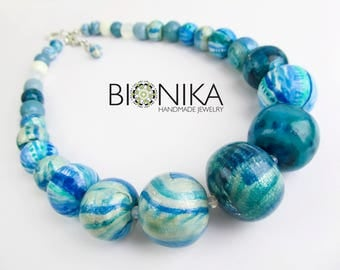 Ethnic beads unique necklace polymer clay jewelry large beads abstract pattern boho necklace turquoise beads bohemian Valentine's Day Gift