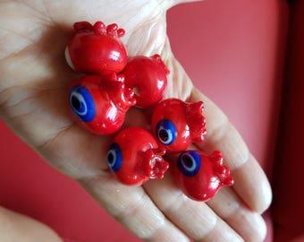 Pomegranate lampwork beads , hollow lampwork