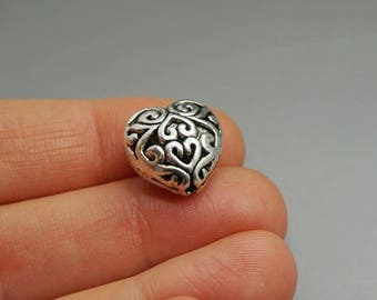 SET of 10 silver beads heart love ethnic (F46)