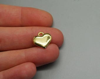 Set of 10 (A75) Golden Heart charms