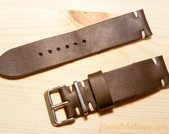 Leather Watch Strap 22mm// Leather Watch Band in Brown color // Replacement Watch Band 22mm // Thumbnail Buckle