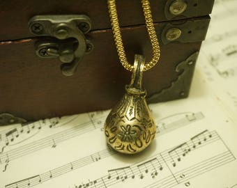 Vintage Brass Bell Necklace, jewelry, women's gift
