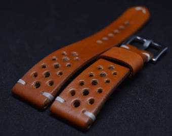 Leather watch strap Thick Rally Racing Tan/ Custom Solid Brown watch band/ 18mm 19mm 20mm 21mm 22mm 23mm 24mm/ tapered sport style/ durable