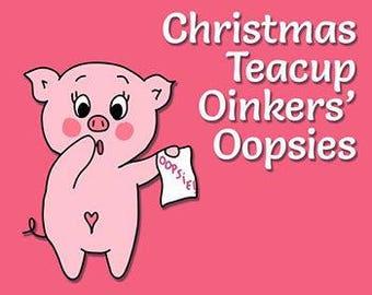 TEACUP Christmas Oinkers' Oopsies - Christmas Planner Stickers - Oops Stickers - Miscut Stickers - Planner Stickers - Oops Grab Bags