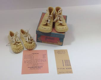 Vintage Infant Crib Shoes Yellow Wool with embroidery