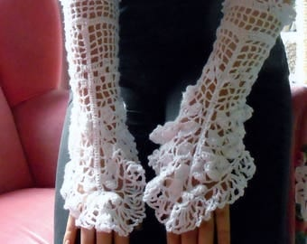 Irish Crochet  White Fingerless gloves
