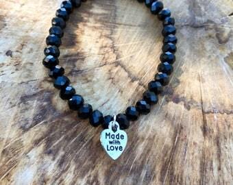 Beaded bracelets, Erimish bracelets, Stretch bracelets, stackable bracelets, beaded jewelry, beaded stretch bracelet, black jewlery