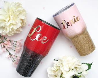 Custom Painted Glitter Ombre Tumbler - Ombre Tumbler - Painted Tumbler - Glitter Tumbler - Custom Yeti - Glitter Dipped Yeti - Yeti - RTIC