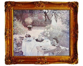 Vintage Framed H. A. DeNunzio Co. Oil Replica of Monet's Lunch in the Garden - Giclee