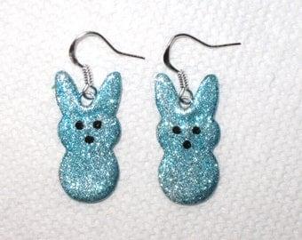 Glitter Blue Easter Bunny Earrings,Bunny Earrings,Peep Earrings,Easter Earrings,Polymer Clay,Silver,Glitter Earrings,Blue Peeps,Pastel Blue