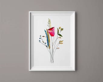 Bouquet with red tulip  – Watercolor Print – Instant Download, Tulip Watercolor, Flowers Watercolor