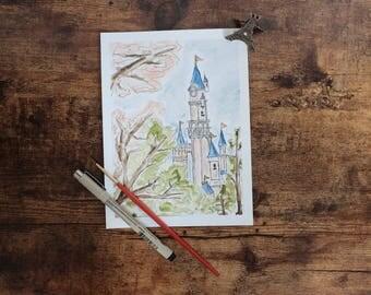 Paris Spring Fairytale Pink Princess Castle Watercolor