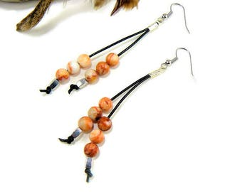 Leather Dangle Earrings, Beaded Earrings, Long Earrings, Boho Earrings, Leather Drop Earrings, Boho Chic, Leather Jewelry, Leather Teardrop