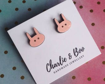 Pink Bunny Rabbit Studs - Bunny Rabbit Earrings - Bunny Studs - Rabbit Studs - Easter Studs - baby Pink Studs - Hand Painted