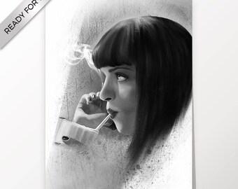 Mia Wallace, Uma Thurman, Pulp Fiction, artwork, handmade, PRINTABLE art, poster, instant download, digital print, home decor, wall art
