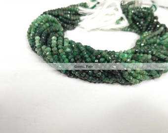 13 Inch Natural Emerald Shaded Faceted Rondelle Beads - Emerald Beads - Faceted Emerald - Emerald Rondelle - Precious Beads - Faceted Beads