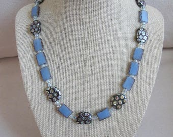 Czech Glass Ammonite Fossil Beads with Blue and Clear Glass ST Toggle Necklace 18""