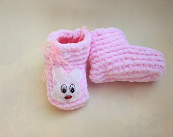Pink Baby Booties Baby Girl Knitted Crib Shoes Newborn Baby Gift Crochet Pink Booties Handmade Baby Shoes Baby Shower Idea Infant Shoes