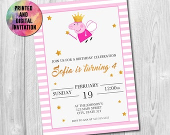 Peppa Pig Printed Invitation, Peppa Digital Invite, Peppa Pig Invite, Peppa Pig Party, Peppa Pig Card, Peppa Pig Birthday, AB-007