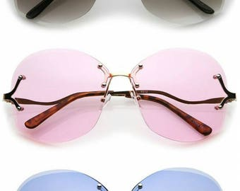 Women's Curved Metal Arms Rivet Details Oversize Lens Rimless Sunglasses 66mm