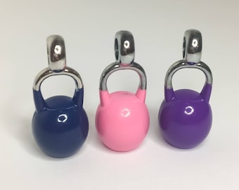 Pink Kettlebell Charm, Blue Kettlebell Charm, Purple Kettlebell Charm, Fitness Charms, Crossfit, Fitness Jewelry, Gift Ideas, Charms, Gym,