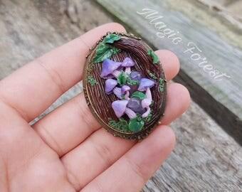Fairy brooch, Brooch magic forest, Forest, nature, Mushroom, Brooch handmade, mushroom necklace