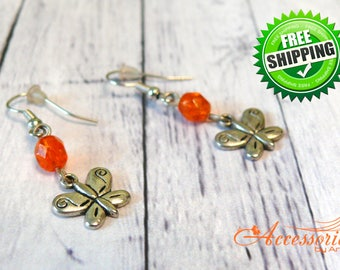 Orange crystal butterfly metal  silver charm earrings Animal charms jewelry Transformation butterfly art Butterfly gift party earrings