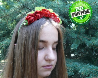 Red rose headband Flower crown BOHO croun Red Hair accessories Red wreat Red roses Hair accessories Flower headband Red Flower crown