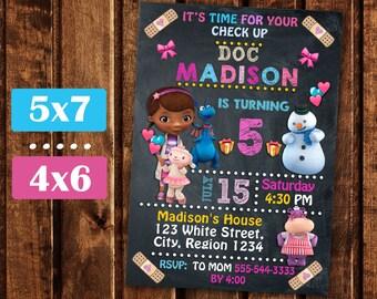 Doc McStuffins Invitation, Doc McStuffins Birthday Party, Doc McStuffins Birthday Invitation, Doc McStuffins Birthday Party Printable