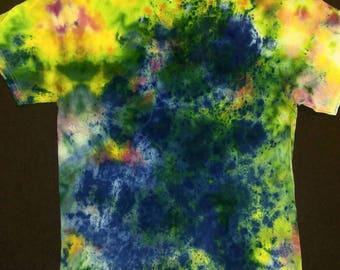 Medium - Splatter Design - Dark Blue Center - Tie Dye Tee - Unique Custom Tie Dye - Hippy Top
