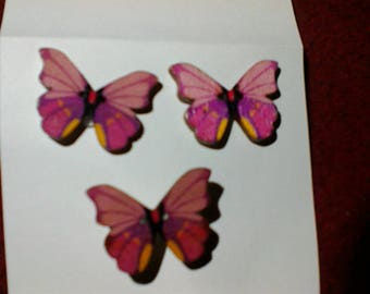 Wooden Button Butterfly Earrings and pin