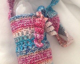 Portable water bottle holder, water bottle cozy with strap, water bottle carrier