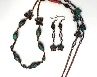 Turquoise breeze necklace and earrings - boho jewelry set