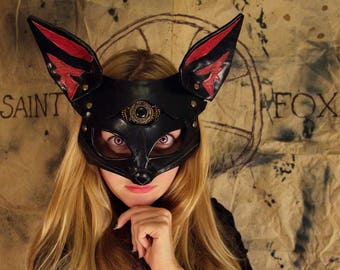 "Black Leather Mask ""Sainte Foxy"", Women's mask, bdsm mask, women mask, fox mask"