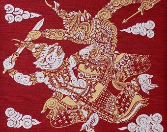 Handmade Hanuman Thai Screen Print on Silk, Thai Hanuman Wall Decor, Thai Silk Screen Art Panel, Gold & Red DIY Thai Silk Pillow  (TSP-205)