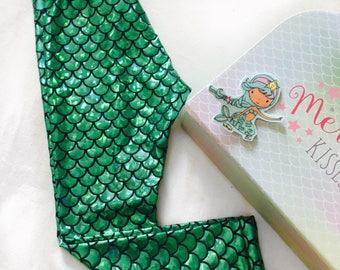 Girls Foil Print Mermaid Leggings - Holographic Green Flake - Scale Print Leggings - Sizes Prem - 14 Years - Ariel Dress Up - Under The Sea