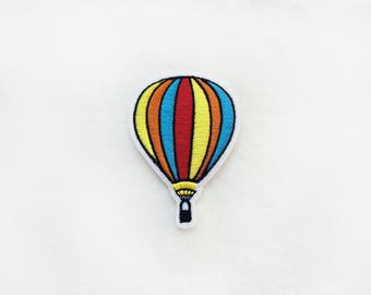 1x hot AIR BALLOON patch - Iron On  embroidered Applique yellow orange blue red - colorful - diy project