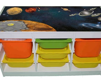 Space kids room furniture sticker – Ikea hack Trofast sticker for play tables/storage. - Furniture not included.