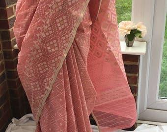 Pink colour Exclusive Dhakai Jamdani Saree