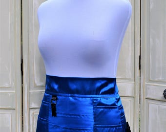 Handmade Womens Intimate Bright Blue Satin Lingerie Tool Utility Belt Apron