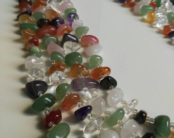 Gemstones necklace. Precious stones. Gems. Graftwork. Rainbow Jeuelry.Hand made, earrings, pendant, ring, bracelet ,,,